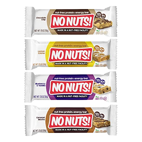 No Nuts Protein Bars Energy Bars – 100 Nut Free Vegan Protein Bars Vegan Protein Bars Variety Pack of 4 Sampler Organic, Kosher, Egg-Free, Non-Gmo Dairy Free Protein Bars