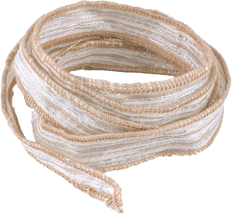 KELITCH Silk Ribbon Wrap Wrist Band Friendship Rope Bracelet Stripe Boho Style for Sister