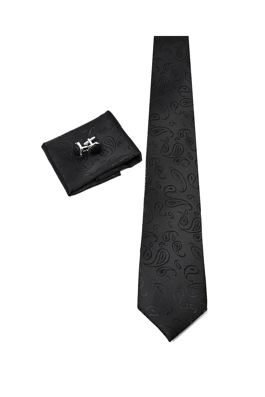 Geschenk Set, ideal f/ür M/änner zum Geburtstag, eine Hochzeit 100/% Seide Einstecktuch und Manschettenkn/öpfe f/ür Herren Klassisch Krawatte Set mit Paisley Schwarz Krawatte Elegant und Modern -