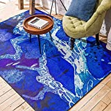 Wolala Home™Nordic Abstract Painting Living Room Sofa Rug Blue Deer Christmas Gift Children Play Home Decorator Floor Rug (4'6x6'6)