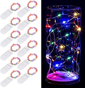 Koxly Fairy String Lights , 12 Pack 7ft 20 LED Starry Light CR2032 Battery Included Operated Decorative Twinkle Strings for Indoor Bedroom Outdoor Wedding Party Christmas Festival Decorations