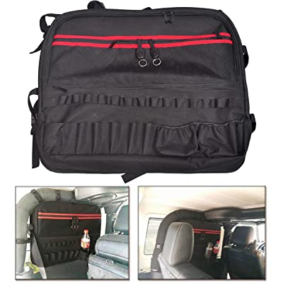 MOEBULB Roll Bar Storage Bag Cage Cargo Saddlebag for 1997-2020 Jeep Wrangler JK TJ LJ & Unlimited 2-Door Multi-Pockets Tool Kits Bottle Drink Phone Tissue Gadget Holder (2-Door, 1-Pack): Automotive
