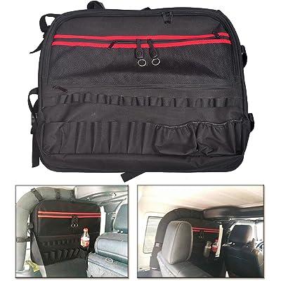 MOEBULB Roll Bar Storage Bag Cage Cargo Saddlebag for 1997-2020 Jeep Wrangler JK TJ LJ & Unlimited 2-Door Multi-Pockets Tool Kits Bottle Drink Phone Tissue Gadget Holder (2-Door, 1-Pack): Automotive [5Bkhe2011491]