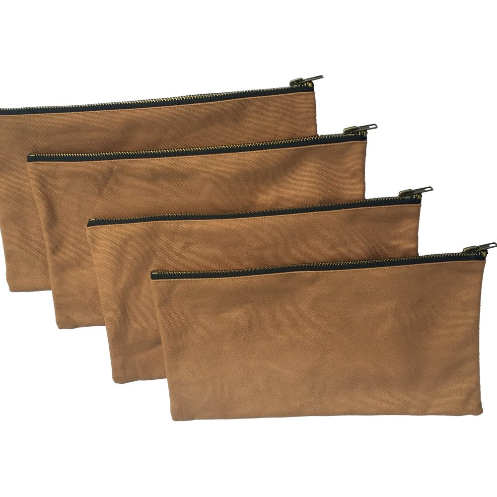 Heavy Duty 16 oz. Canvas Tool Bags with Metal Zippers, Multi Purpose Waterproof Smart Storage Pouches - Utility Tool Organizer Pack of 4, Best for Handymen Repairmen Woodworker (khaki, Pack of 4)