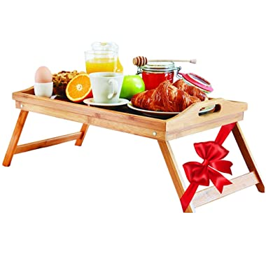 Lap Desk Bed Tray Table – Bamboo Folding Lap Desks for Adults and Kids as Dinner & Breakfast in Bed Trays for Eating, Tea, TV Laptop Work or Study in Bed, Couch, Sofa, Floor or Outdoor - Food Serving