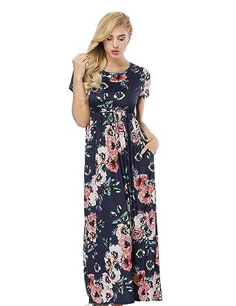 530aaeeb197 HUHHRRY Vestido Largo de Moda Mujer Para Fiesta o Casual Manga Corta Top  Ropa Floral Print Falda Estampada Redondo Cuello de Verano  Amazon.es  Ropa  y ...