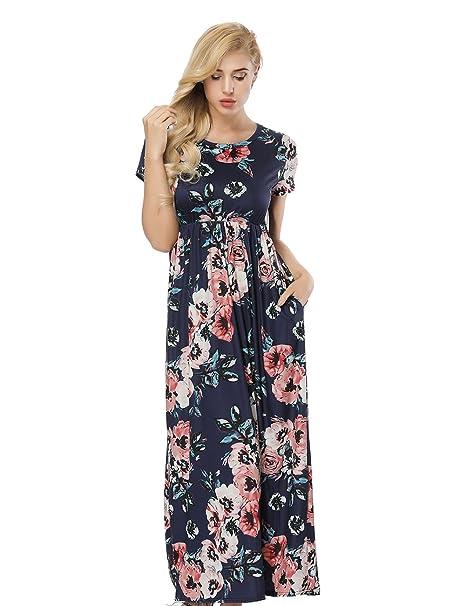 HUHHRRY Vestido Largo de Moda Mujer Para Fiesta o Casual Manga Corta Top Ropa Floral Print