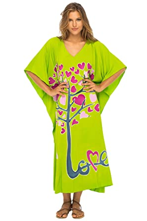 416efa55e5 Back From Bali Womens Beach Cover up Maxi, Kaftan Love Tree Beach Dress Swimsuit  Cover up at Amazon Women's Clothing store: