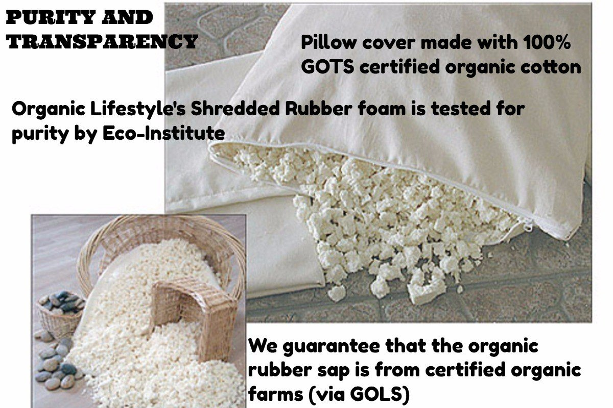 Organic Lifestyle Washable - Natural Shredded Rubber Latex - Down Alternative Zipper Pillow (Standard) by Organic Lifestyle (Image #3)