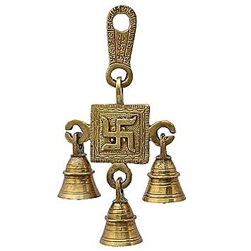 GREENTOUCH CRAFTS Diwali Brass Gift Statue Swastik Ganesh Ji Bell
