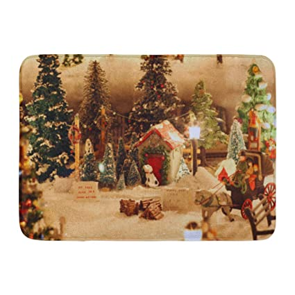 emvency bath mat bauble blue stocking miniature christmas village tree lot ball candy bathroom decor rug - Miniature Christmas Town Decorations