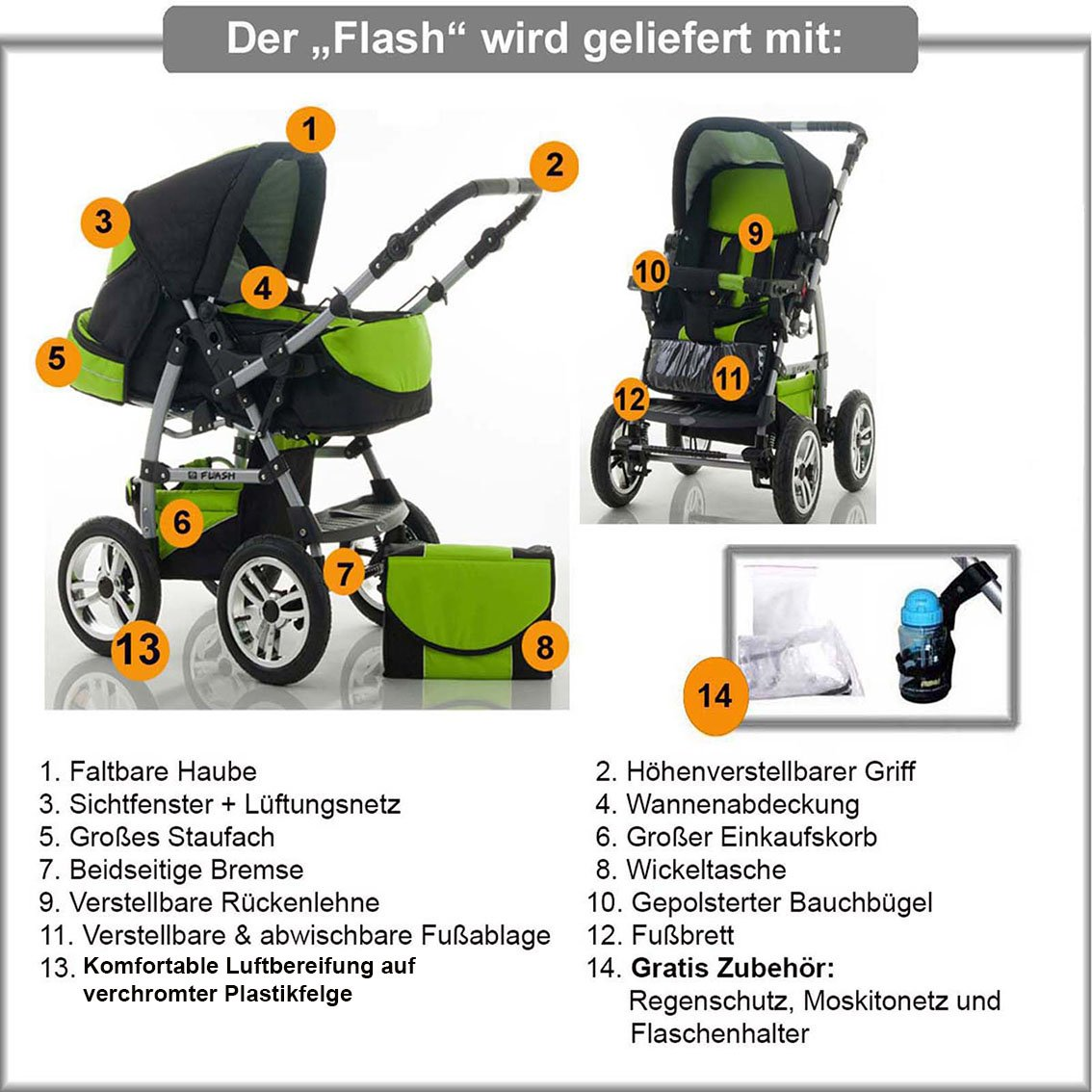 "14 teiliges Qualitäts-Kinderwagenset 2 in 1 ""FLASH"" in 38 Farben: Kinderwagen + Buggy - Megaset – all inklusive Paket in Farbe SCHWARZ dein_babyladen"