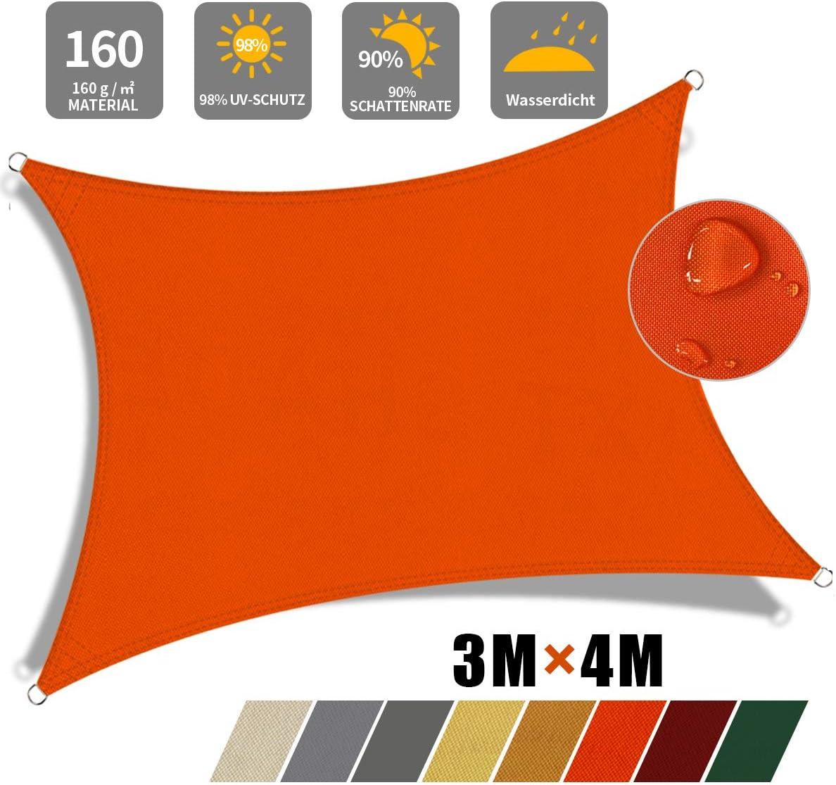 JYYnet Sonnensegel 2/×3m, Sand Sonnensegel Sonnenschutz Sonnensegel/Wasserdicht UV-Schutz Polyester Sonnensegel f/ür Garten Balkon Terrasse Camping