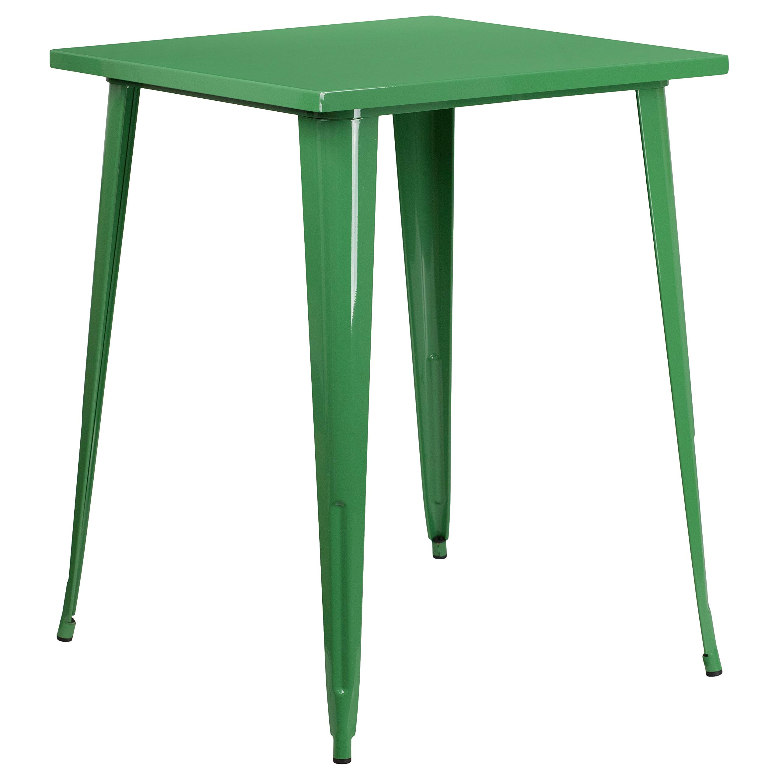 MFO 31.5'' Square Green Metal Indoor-Outdoor Bar Height Table by My Friendly Office