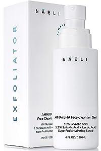 AHA / BHA Exfoliating Face Wash - 10% Glycolic Acid with Salicylic Acid, SuperFruit Antioxidants & Peptides – Facial Exfoliator Cleanser to Minimizes Pores, Brighten Skin, Reduce Fine Lines & Wrinkles, 4 oz
