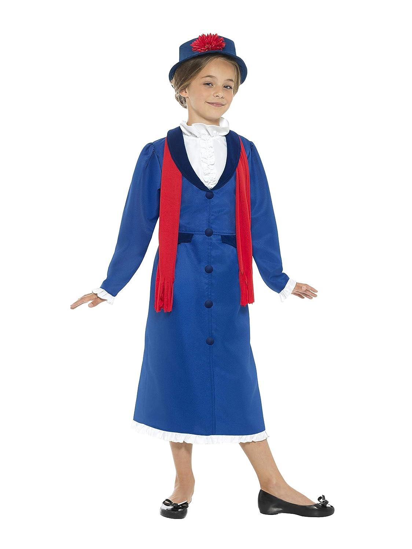 Smiffys Smiffys-45625L Disfraz de niñera época Victoriana, con Vestido, Sombrero y Bufanda, Color Azul, L - Edad 10-12 años 45625L
