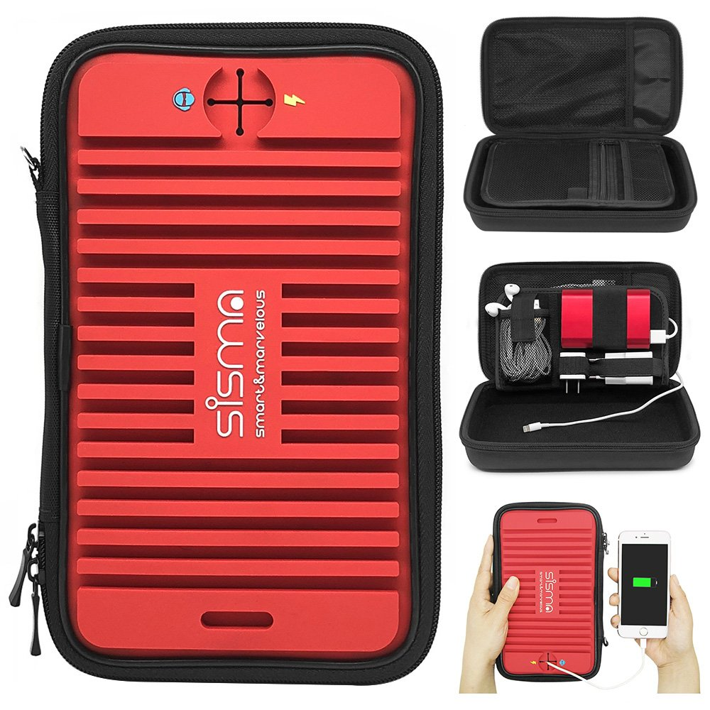 Sisma Travel Organizers Universal Carrying Cases Kit for Small Electronics and Accessories, Red Bundled Small Pouch SCB16128S-R
