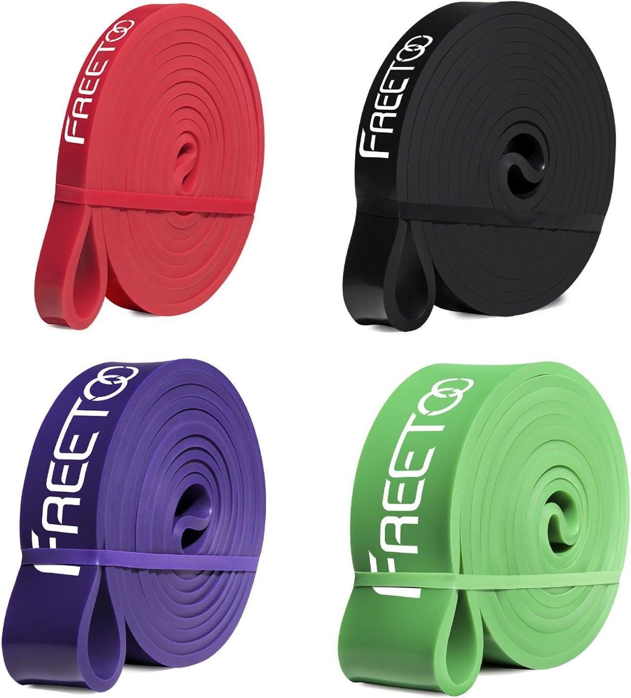 FREETOO Bandas de resistencia de goma fitness cinta de resistencia para el entrenamiento de fuerza/músculos/ejercicio/Home gimnasios en 5 puntos fuertes (Rojo + Negro + Morado + Verde): Amazon.es: Deportes y aire libre