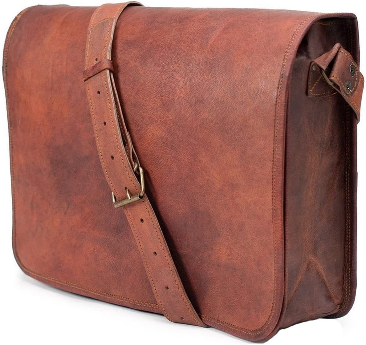 Cool large shoulder purse for men Unisex crossbody messenger bag gift present for him distressed leather and tweed with outer pocket