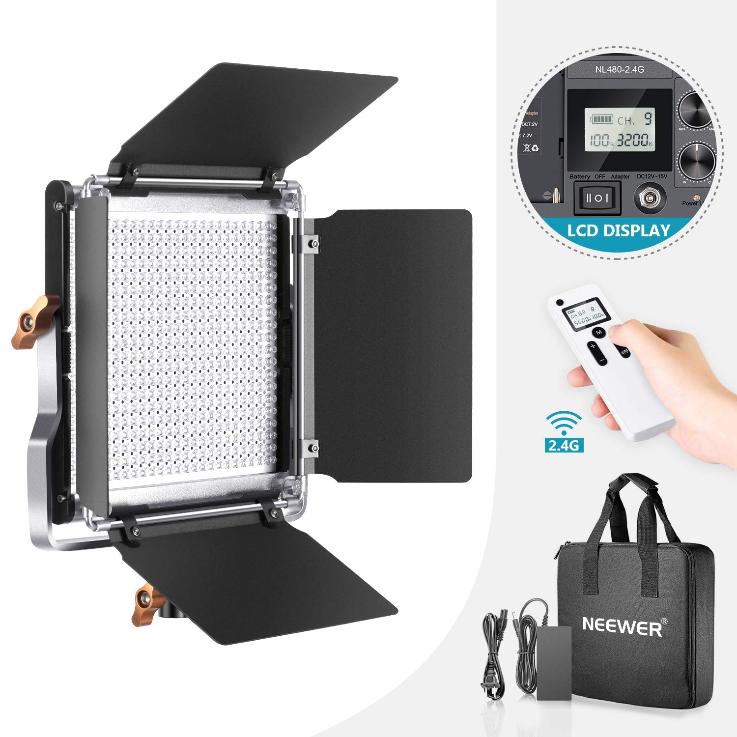 Neewer Advanced 2.4G 480 LED Video Light, Dimmable Bi-Color LED Panel with LCD Screen and 2.4G Wireless Remote for Portrait Product Photography, Studio Video Shooting with Metal U Bracket and Barndoor by Neewer