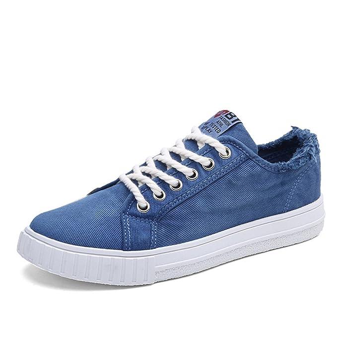 Amazon.com | Lace up Canvas Shoes Men Alpargatas Canvas Trainers Men Denim Shoes Casual Blue Flats | Fashion Sneakers