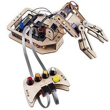 Robotic Arm Kit Diy 4 Axis Wooden Mental Servo Rollarm For
