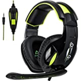 Gaming Headset for Xbox One Controller, PS4, SADES Stereo PC Gaming Headset with Mic, Noise Cancelling Over Ear Gaming Headphones with Soft Memory Earmuffs for Laptop Mac Nintendo Switch Games