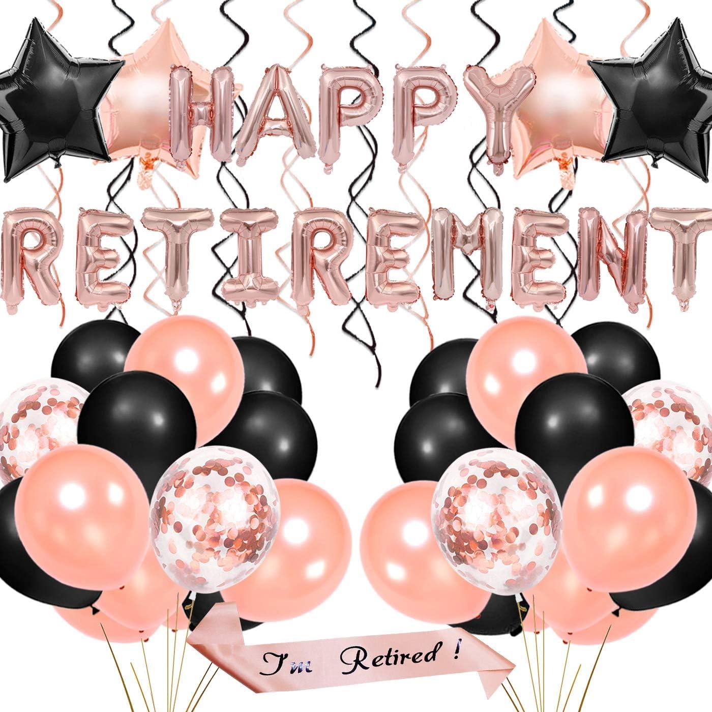 Decoraciones de fiesta de jubilación para mujeres: artículos de jubilación Oro rosa, Bandera de globo de jubilación feliz, Faja Retirada, Papel de aluminio colgando de remolinos, Globos de confeti: Amazon.es: Juguetes y