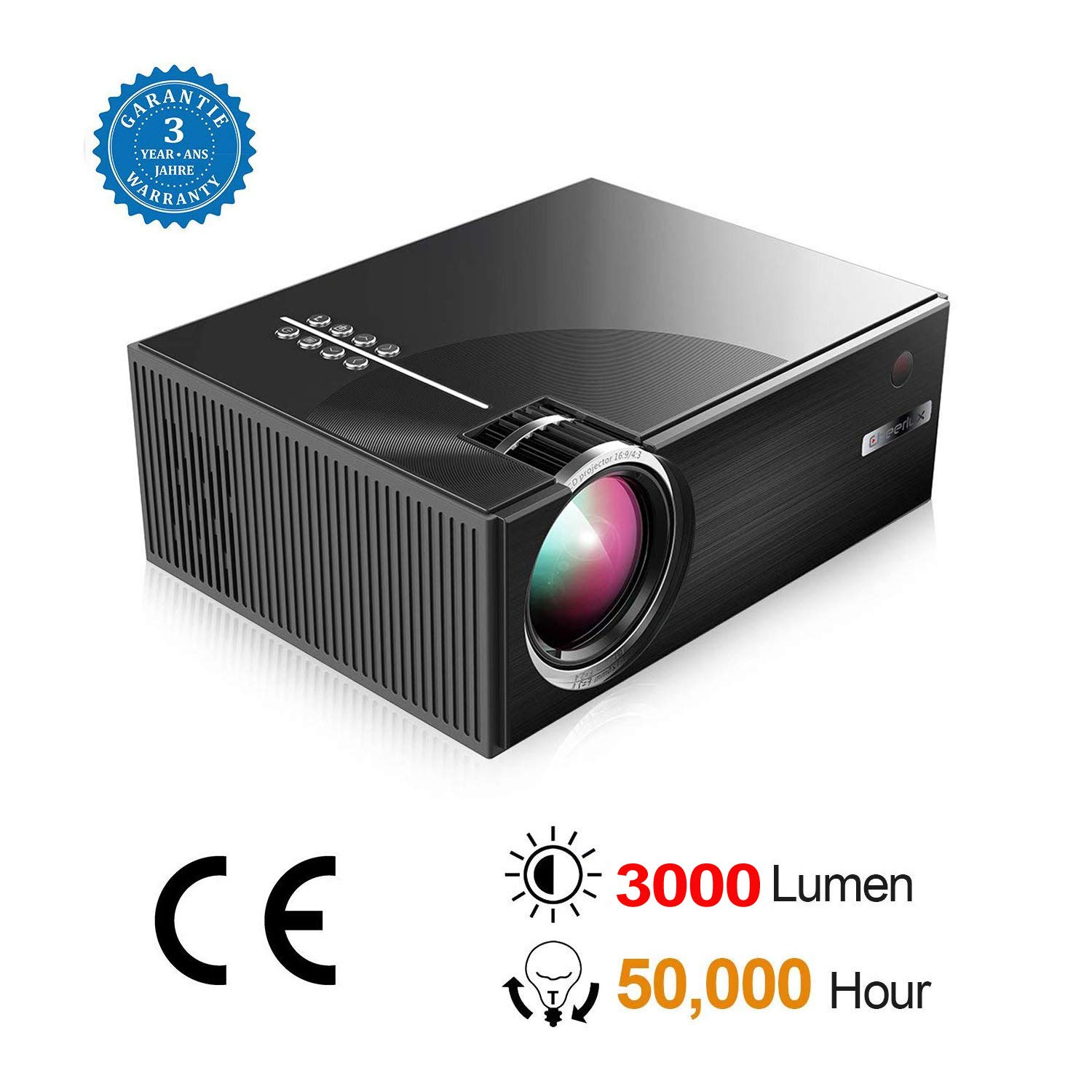 BEYI 3000 Lumen LCD LED Portable Home Theater Video Projectors, 2018 Updated Low-Noise Stereo Speakers, 50000+ Hours Support HD 1080P for Outdoor Movie Nights, Black