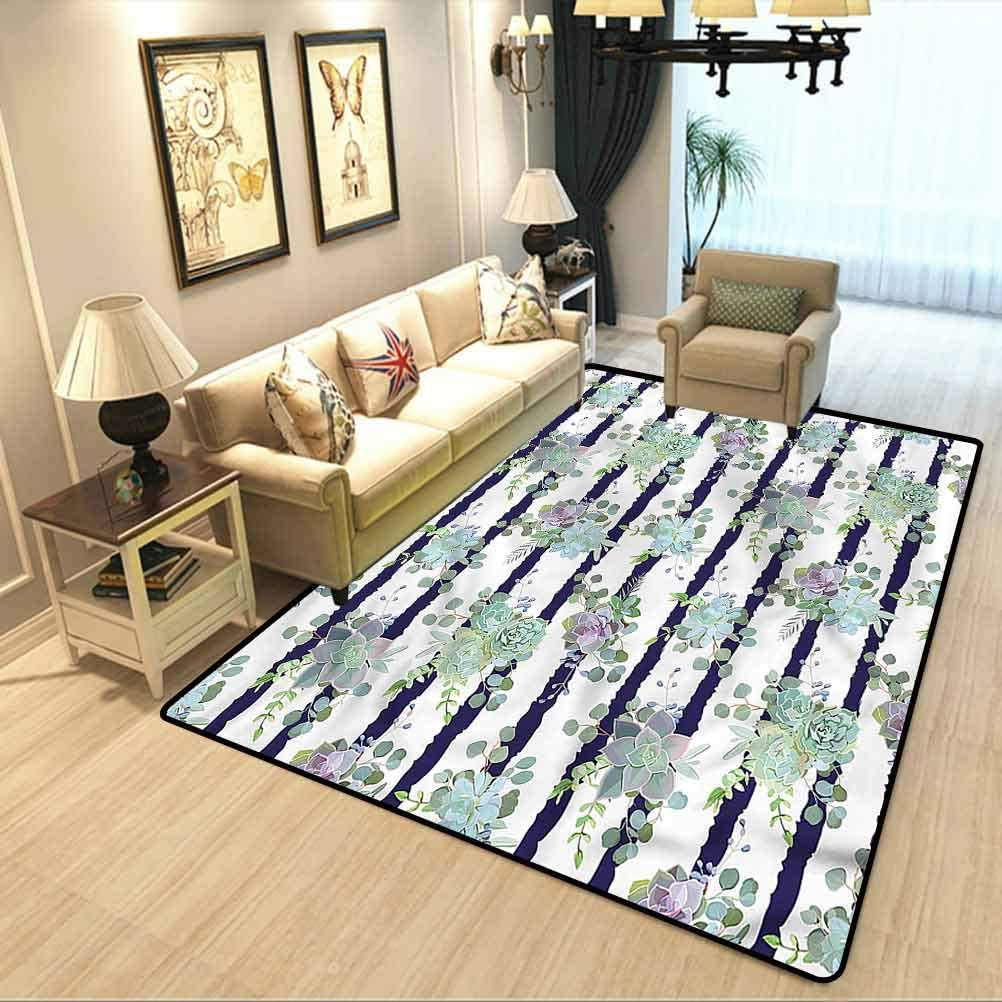 Succulent Extra Soft and Comfy Carpet Natural Cactus Pattern Carpet Runners for Hallway,Carpets for bedrooms W5 x L6 Feet