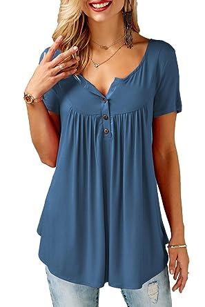 Damen T-Shirt Sommer Top Knopfleiste Bluse Einfarbig Kurzarm T-Shirt Casual Bluse Tunika Tops
