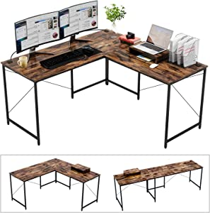 "Bestier Industrial L-Shaped Computer Desk, 95.5"" Large 2 Person Office Corner Desk, Adjustable L Shaped or Long Desk with Free Monitor Stand, Home Writing Gaming Desk Build-in Cord Management, Rustic"