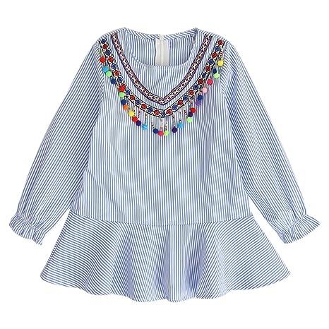 feiXIANG Ropa para niños niña Estilo étnico Vestido de Rayas con Flecos de Manga Larga con
