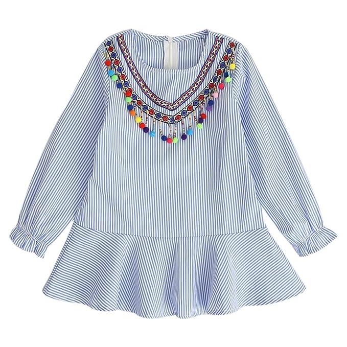 feiXIANG Ropa para niños niña Estilo étnico Vestido de Rayas con Flecos de Manga Larga con Volantes Vestido de Princesa Falda Vestido de Boda de la Moda: ...