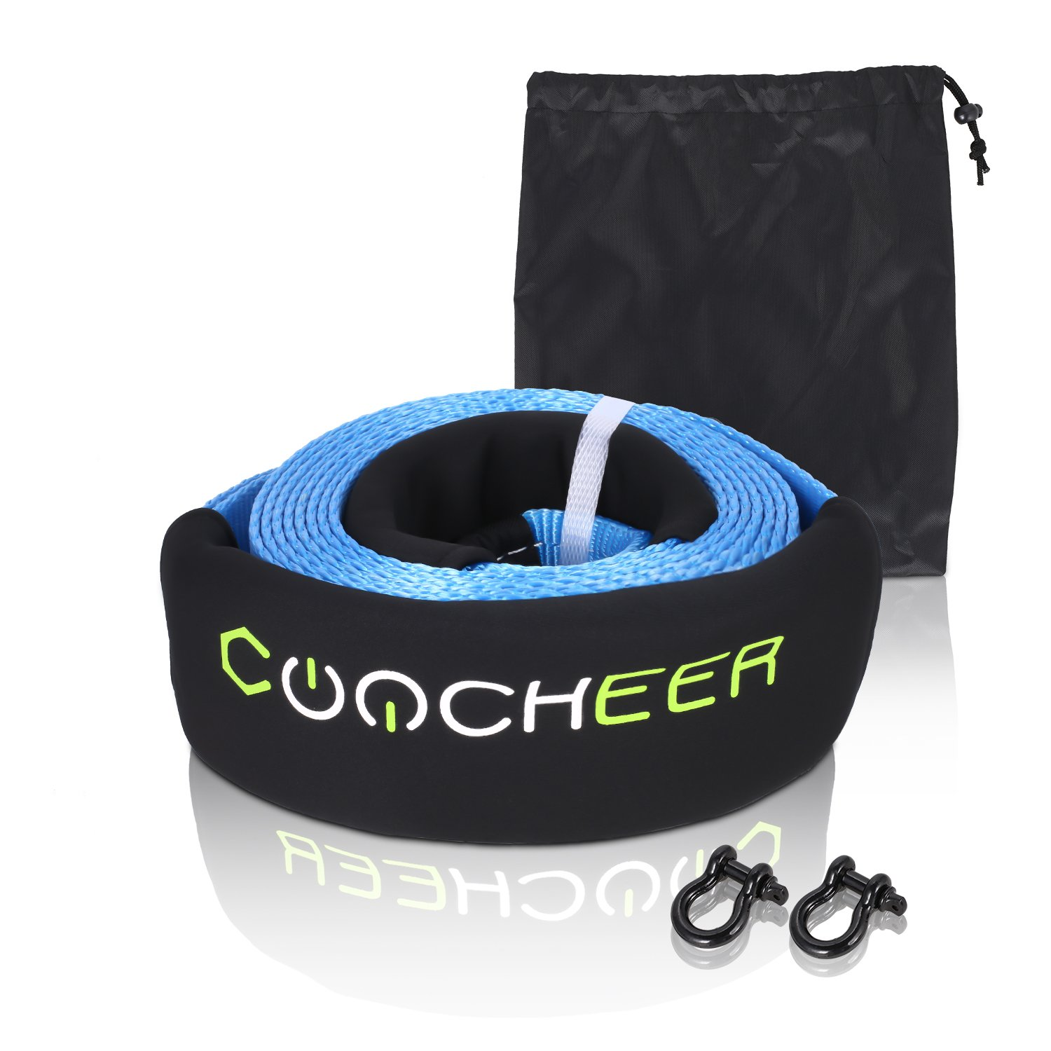 COOCHEER [US Stock] 3'' x 16' Tow Recovery Strap for Off-Road Recovery & Towing with 2 Strength D Ring Shackle, 30000lb Winch Snatch Strap (Blue, 3'' x 16') by COOCHEER