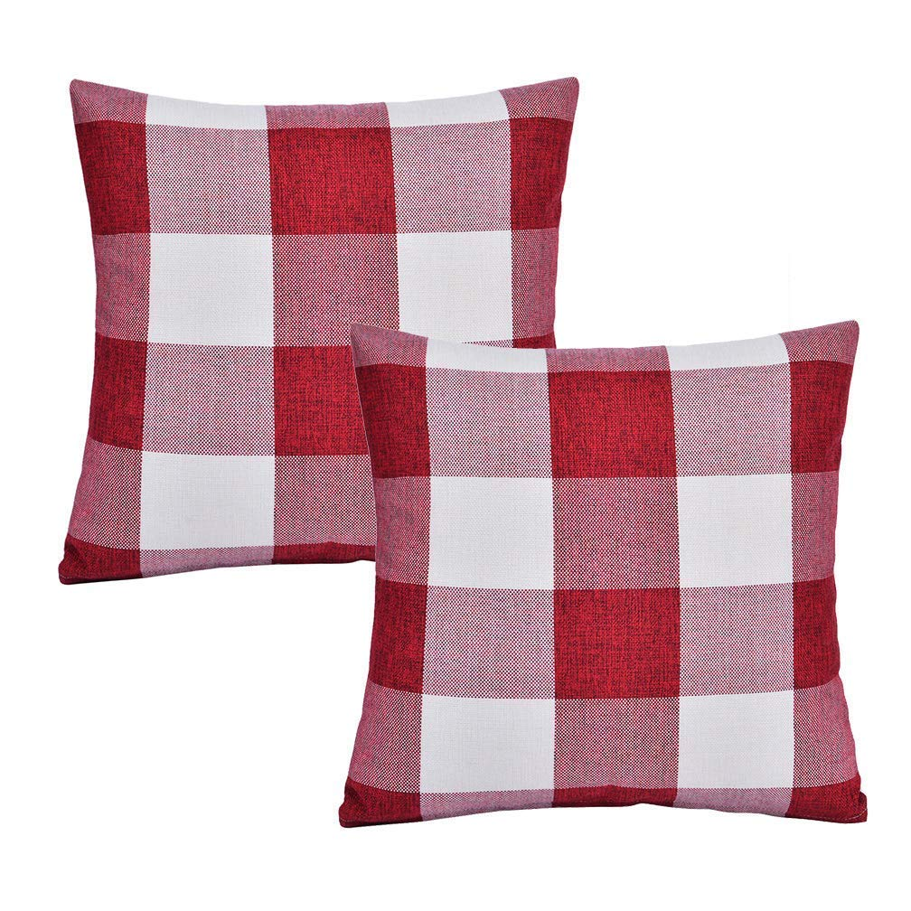 SEEKSEE Set of 2 Buffalo Check Red and White Plaid Throw Pillow Covers Cushion Cover Cotton Linen for Fall Farmhouse Christmas Home Decor, 20 x 20 Inches
