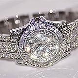 Gotd New Women Watches Rhinestone Ceramic Crystal Quartz Watches Lady Dress Watch Birthday Gifts (Silver)