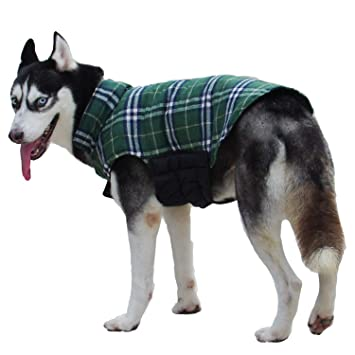 ThinkPet British Style Plaid Reversible Coat Winter Dog Jacket for Small Medium Large Dogs