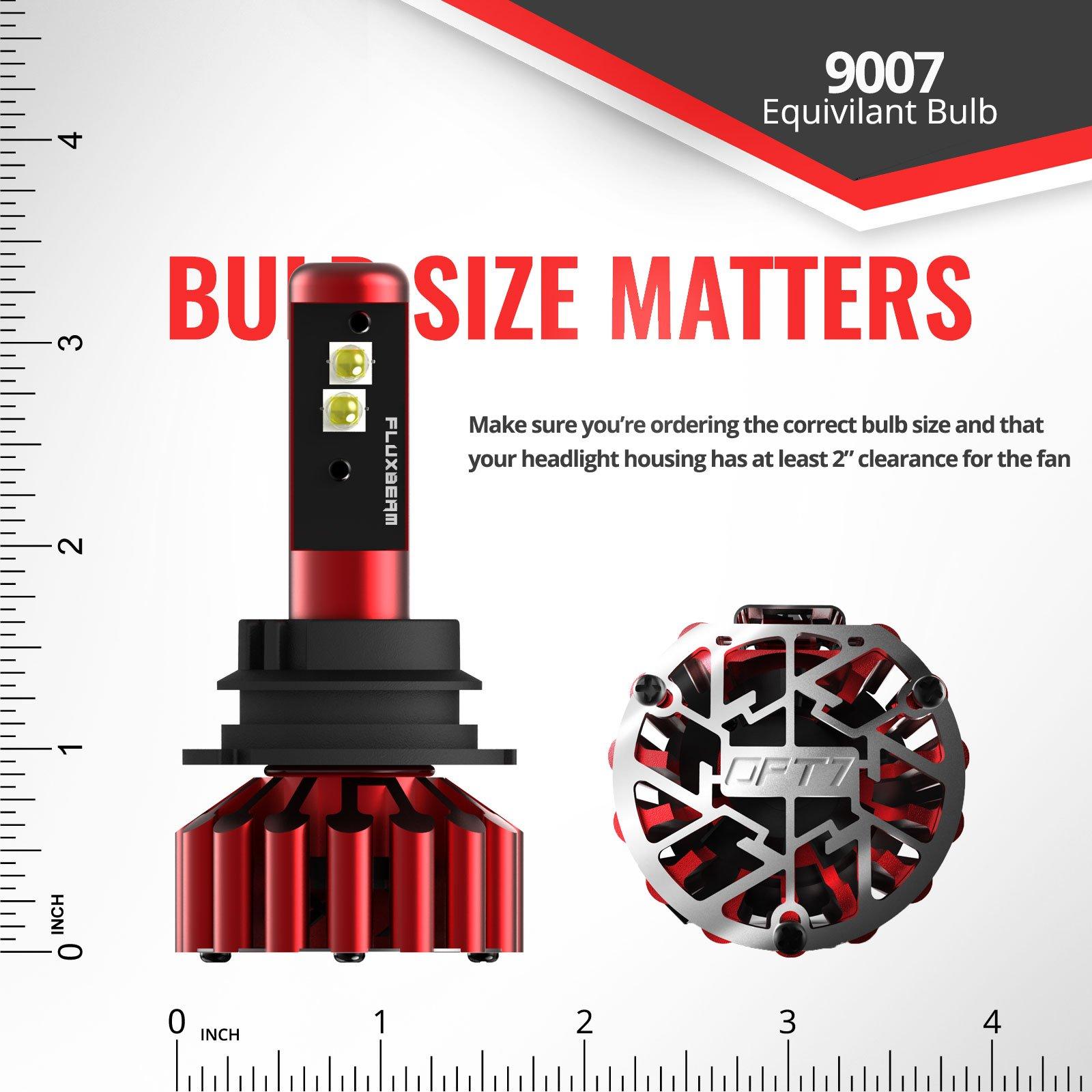 OPT7 Fluxbeam X 9007 LED Headlight Bulbs w/Arc-Beam Lens - 8,400LM 6000K Daytime White - All Bulb Sizes - 80w - 2 Year Warranty by OPT7 (Image #9)