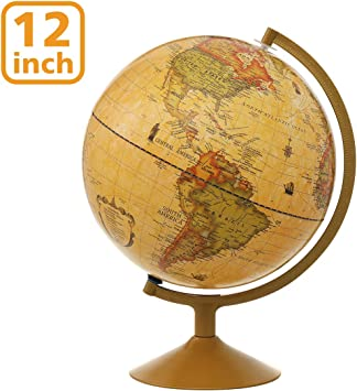 """12/"""" Big World Globe With Antique Stand Item Vintage Nautical Authentic Decor Map"""