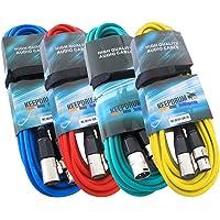 KEEPDRUM 4x microfoonkabel SET 10m XLR 4 kleuren rood blauw groen geel