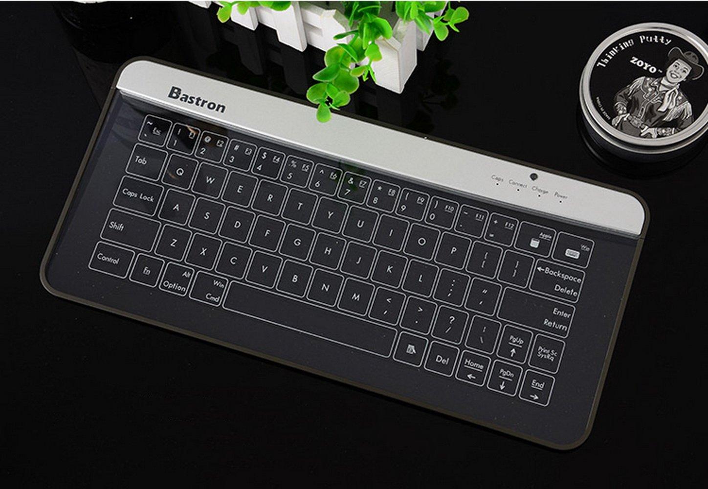 Bastron- Teclado Inalámbrico Transparente, Teclado Bluetooth de Vidrio, Teclado Retroiluminado con Función de Touchpad, Teclado Ordenador Impermeable: ...