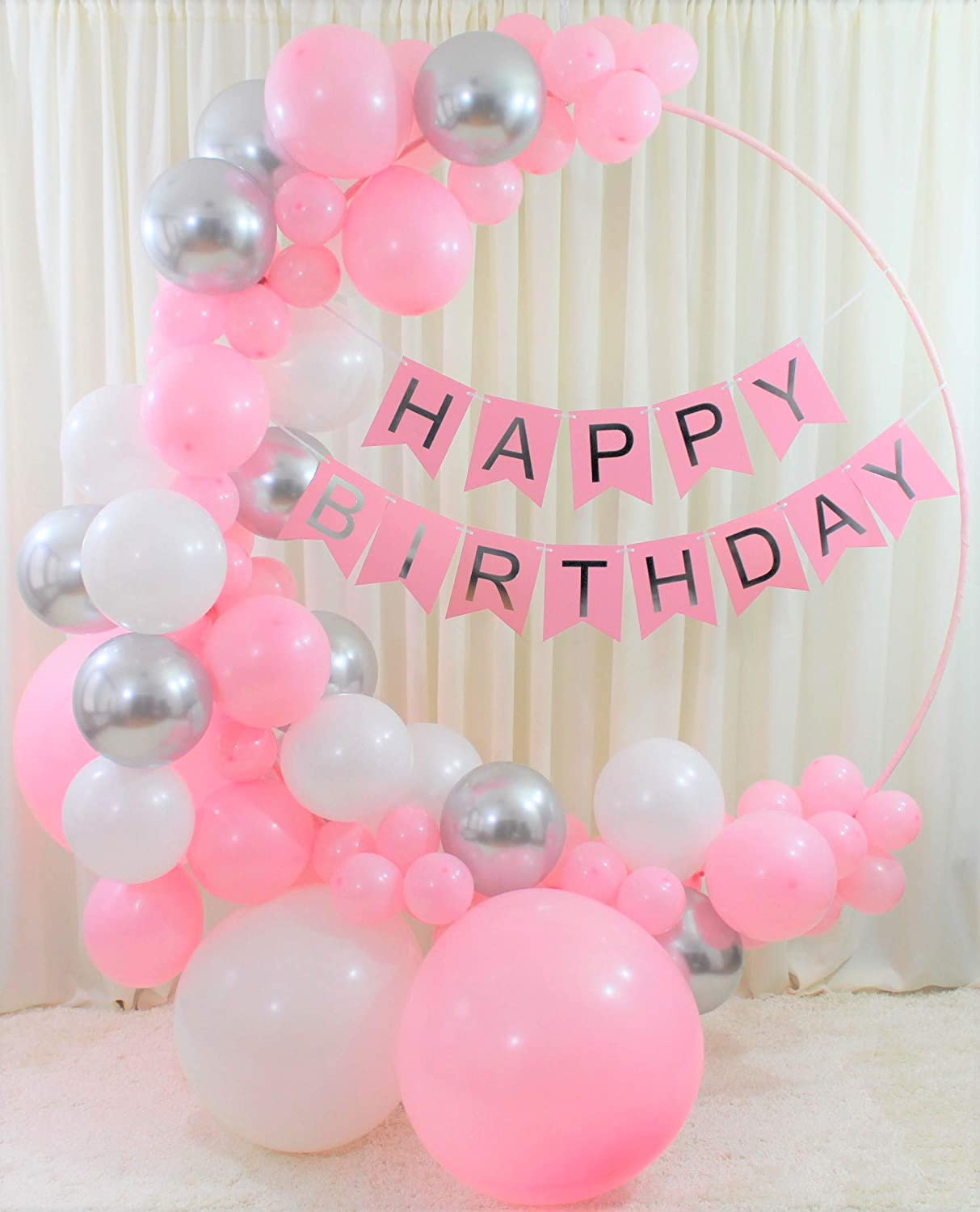 Qutechat Happy Birthday Decorations for Women and Girls - 8 Pink, White,  and Silver Balloons - Lovely Banner with White Ribbon - DIY Tool Kit for