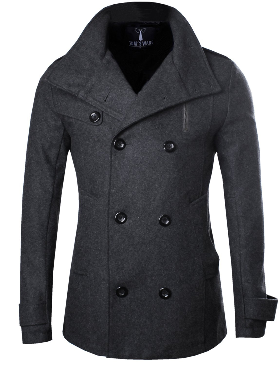 Tom's Ware Mens Stylish Fashion Classic Wool Double Breasted Pea Coat TWCC08-CHARCOAL-US M