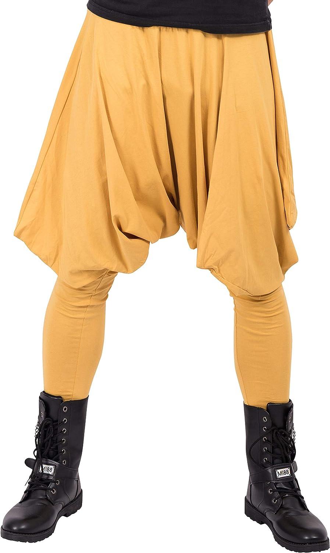 ellazhu Men Baggy Elastic Waist Black Harem Pants Yoga Genie Trouser GYM22 A