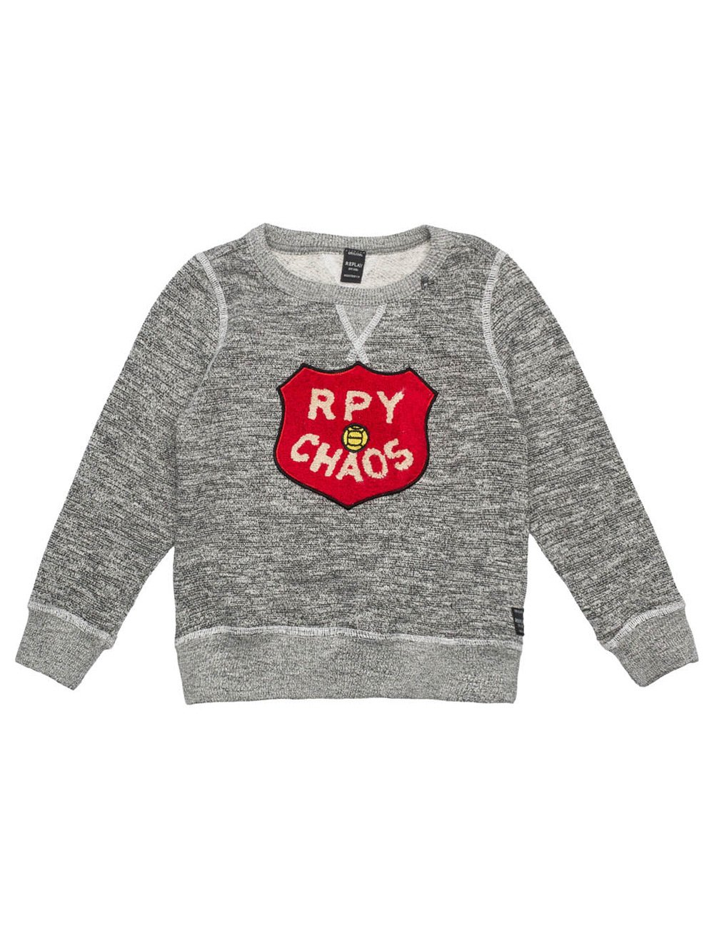 Replay Boys Grey Sweater With Patch in Size 10 Years Grey by Replay