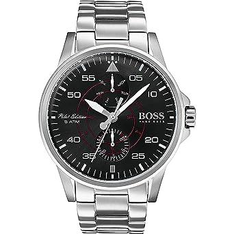 44aa05b67 Amazon.com: Hugo Boss 1513518 Men's Pilot Aviator Black Dial Steel Bracelet  Watch: Watches