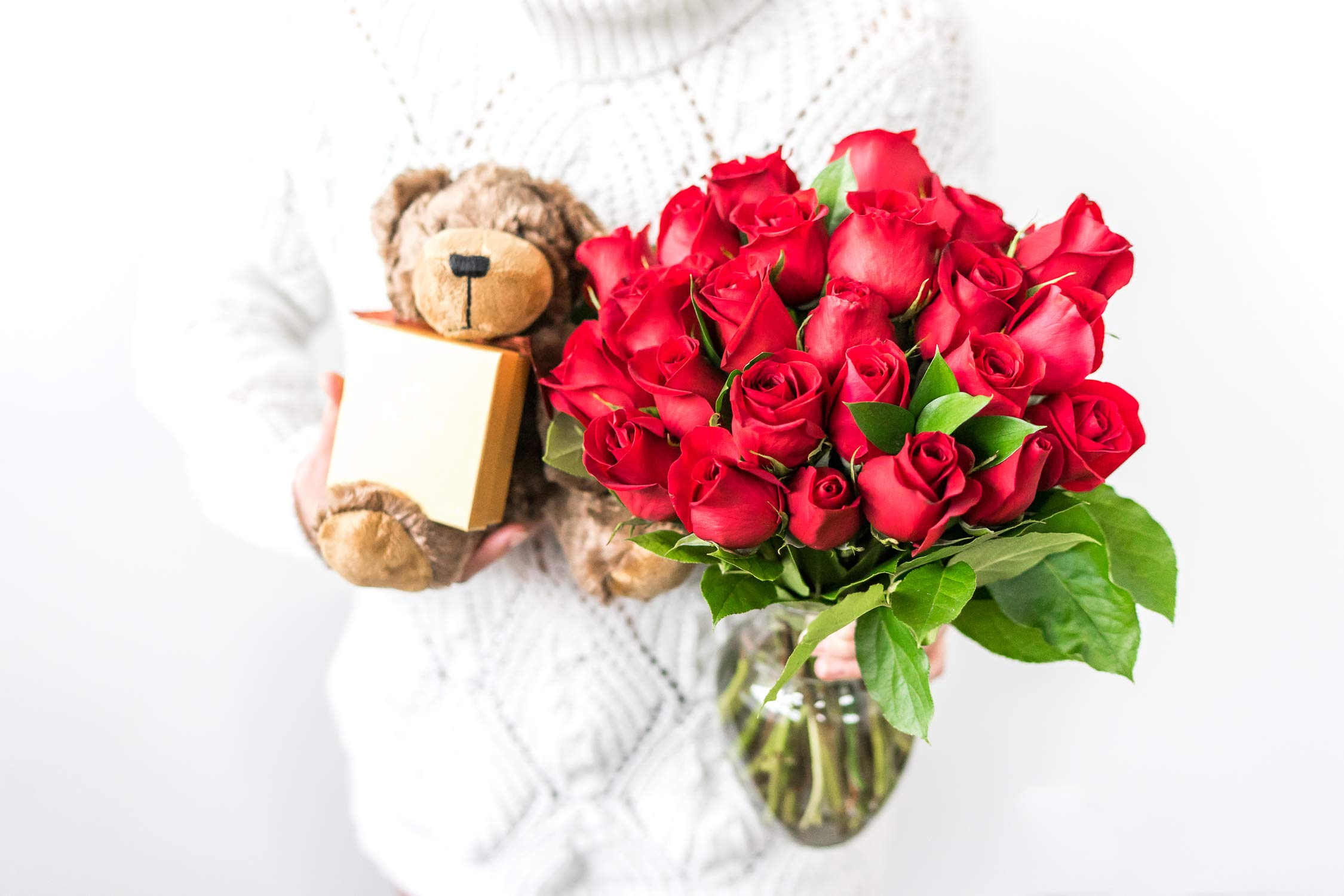 Flowers - Two Dozen Long Stemmed Red Roses with Godiva Chocolates & Bear (Free Vase Included) by From You Flowers (Image #5)