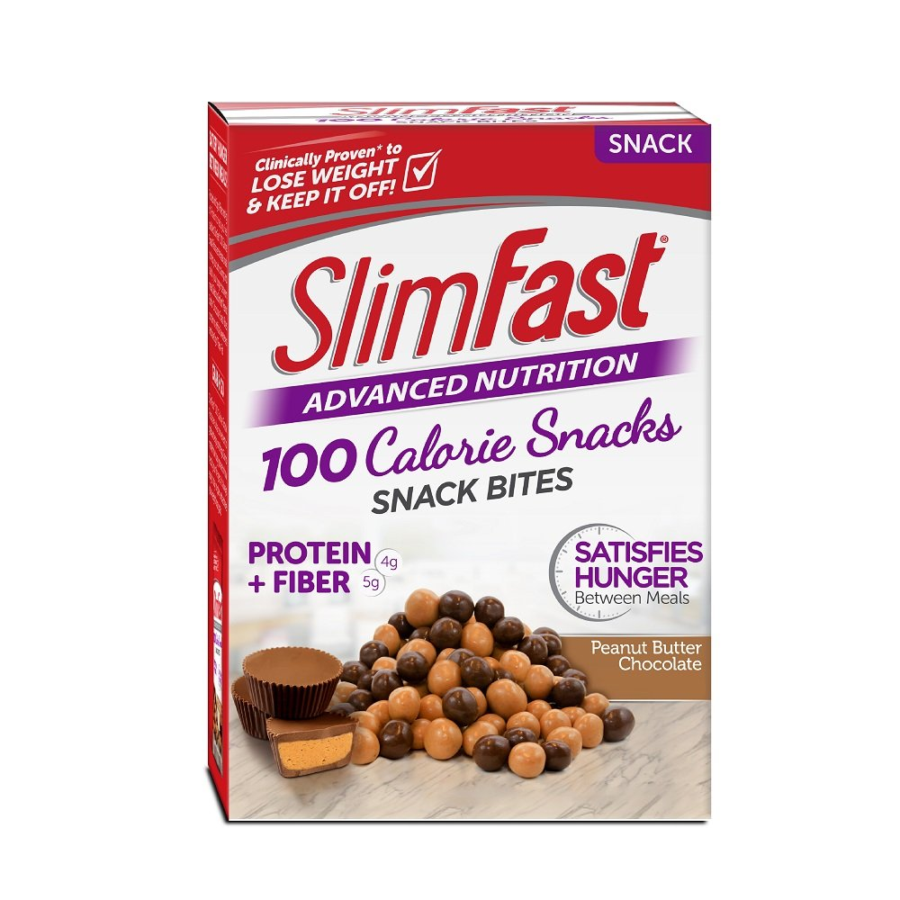 SlimFast Advanced Nutrition 100 Calorie Snack Bites, Peanut Butter Chocolate, 0.81oz. Bag (Pack of 20)