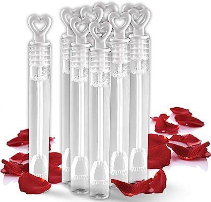 60x Love Heart Wand Tube Bubbles Soap Bottle Confetti Wedding Favour Party Decor